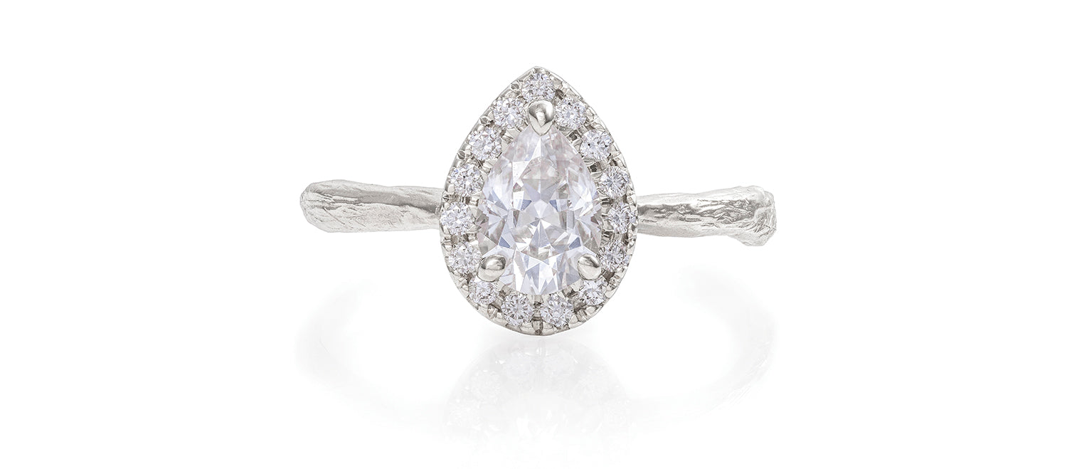 Solid White Gold Queen of Hearts - Pear Moissanite Halo Ring
