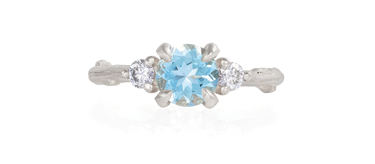 Solid White Gold You Me & Magic - Aquamarine & Classic Diamond Ring