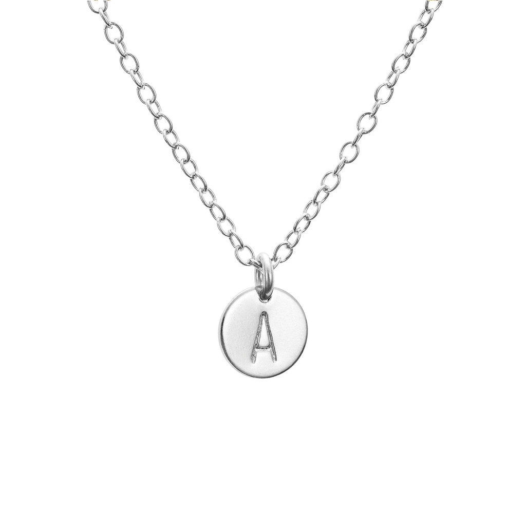 Silver Midi Disc Initial Necklace - One Disc
