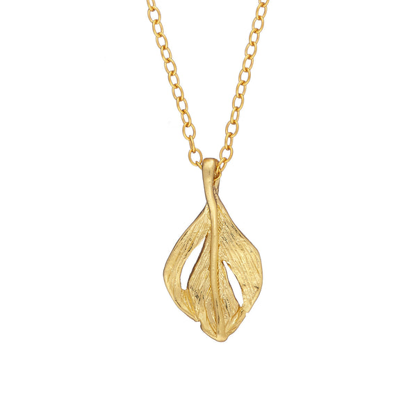 I Can Fly Tiny Swan Feather Necklace in Gold