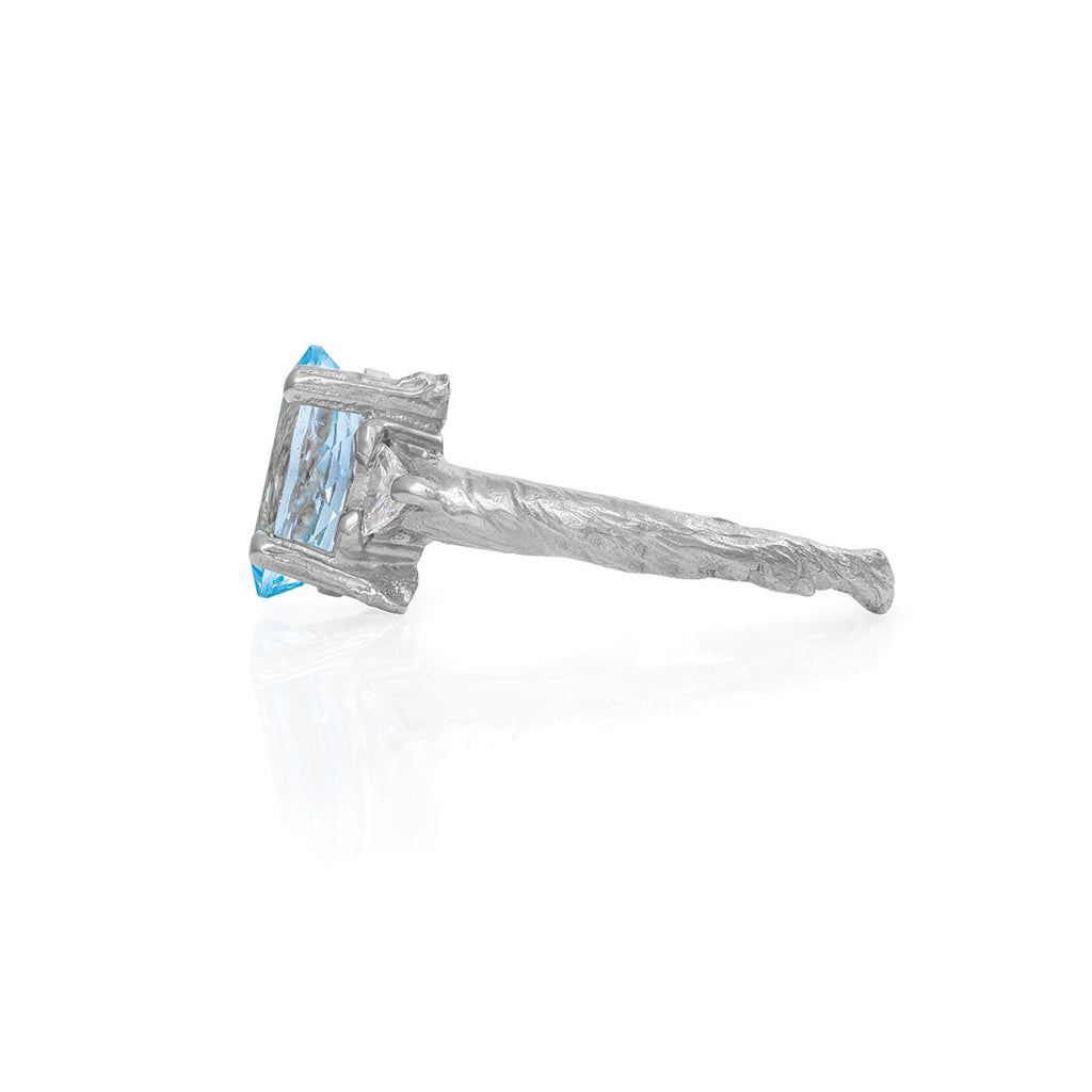 Chupi - Aquamarine & Classic Diamond Engagement Ring - Solid White Gold One in a Trillion