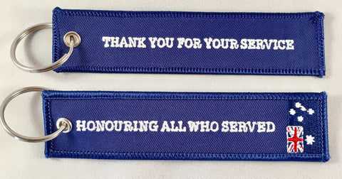 "Remove Before Flight Key TAG 130mm x 30mm ""Thank You For Your Service"""