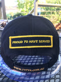 Velcro Sew on Patch PROUD TO HAVE SERVED 25 mm H x 95 mm W.