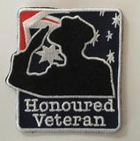 Honoured Veteran Badge Sew on Patch 60 mm W x 65 mm H.