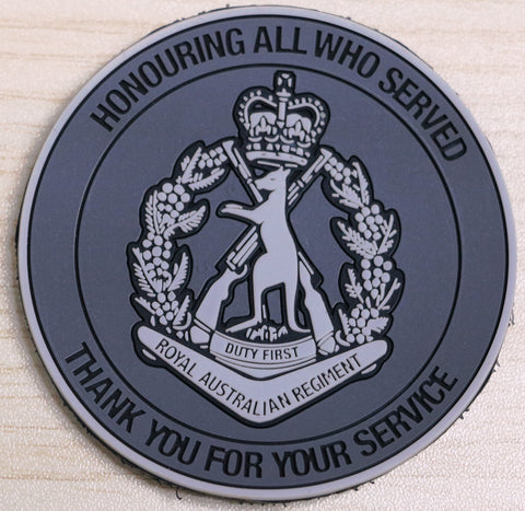 Honoured Veteran Badge/Thank You For Your Service (RAR) 70 mm W x 70 mm H PVC Sew on Patch.