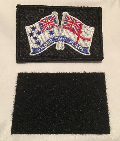 Velcro Sew on Patch NAVY Flag  ( Under Two Ensigns ) 50 mm H x 75 mm W.