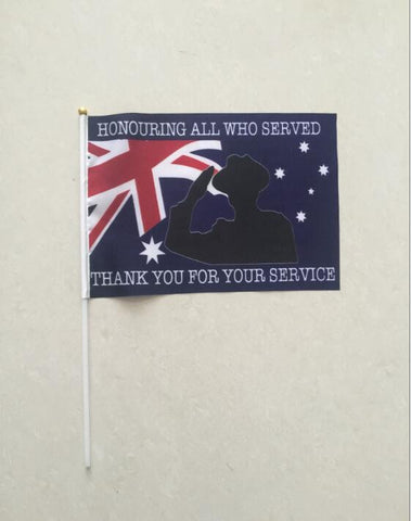 "Hand Held Waving ""Thank You For Your Service"" Australian Flag Size, 20cm x 30cm with a 40cm Pole. Min Order 100"