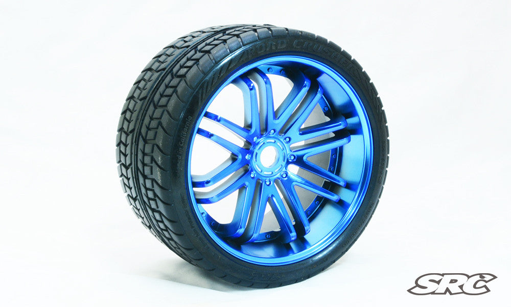 SRC Road Crusher (Belted) for 17mm HEX (Pair) *Blue Chrome*