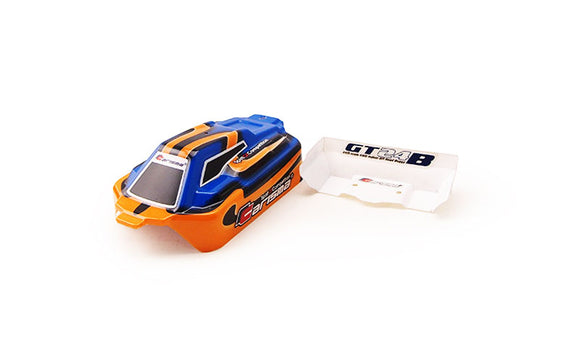 GT24B Painted and Decorated Buggy Body: Orange / Blue