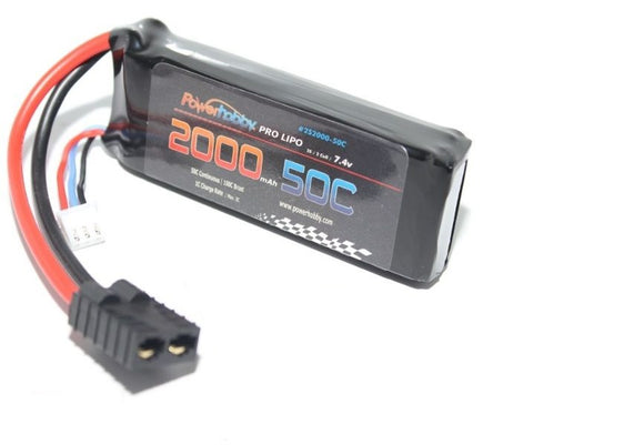 2000mAh 7.4V 2S 50C LiPo Battery with Hardwired HC