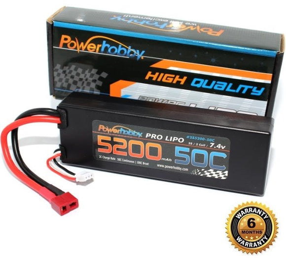 5200mAh 7.4V 2S 50C LiPo Battery with Hardwired T-Plug