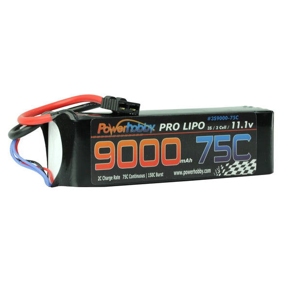 9000mAh 11.1V 3S 75C LiPo Battery with Hardwired HC