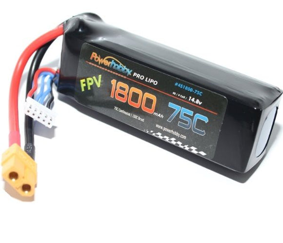 1800mAh 14.8V 4S 75C LiPo Battery with Hardwired XT60