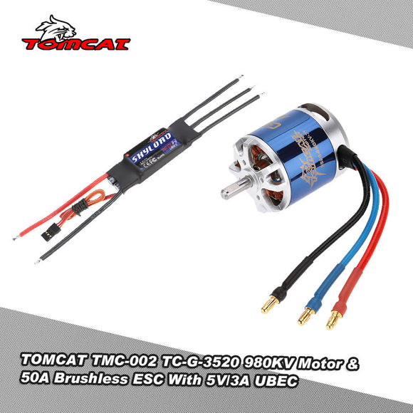 TOMCAT TMC-002 TC-G-3520 980KV 7T Motor & Skylord 50A Brushless ESC with 5V/3A UBEC for RC 15 Class Airplane