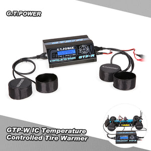 G.T.POWER GTP-W IC Temperature Controlled Tire Warmer Cup Heater w/ LCD Display for 1/10 Size Touring Car Pre-heat Rubber Tires