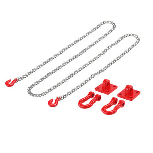 Tow Hook & Trailer Chain Kit for 1/10 Traxxas Axial SCX10 Tamiya CC01 RC4WD D90 D110 TF2 RC Rock Crawler