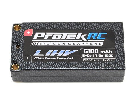 ProTek RC 2S 100C HV 6100mAh 7.6V Shorty Lipo Battery