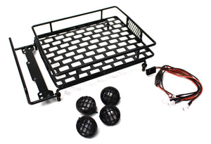1/10 Scaler Metal Grid Roof Rack, Round Lights - Black
