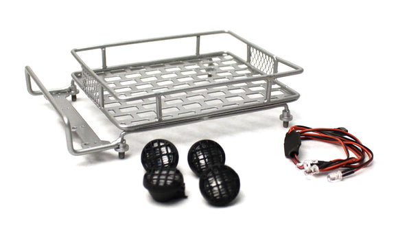 1/10 Scaler Metal Grid Roof Rack, Round Lights - Silver