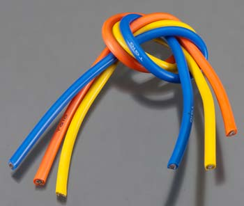 10 Gauge Super Flexible Wire - 1' ea. Blue, Yellow, Orange