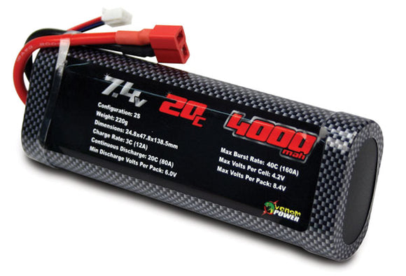 20C 2S 4000MAH 7.4V LIPO BATTERY FOR TAMIYA ROAR - UNI