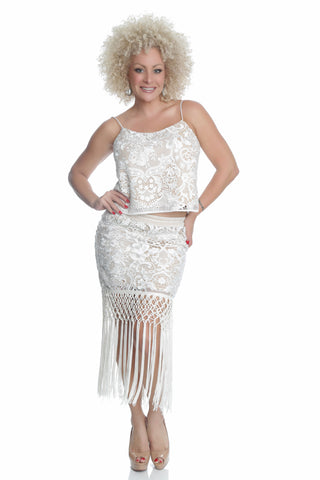 20's Fringe SKIRT with EMBROIDERY - LS6837
