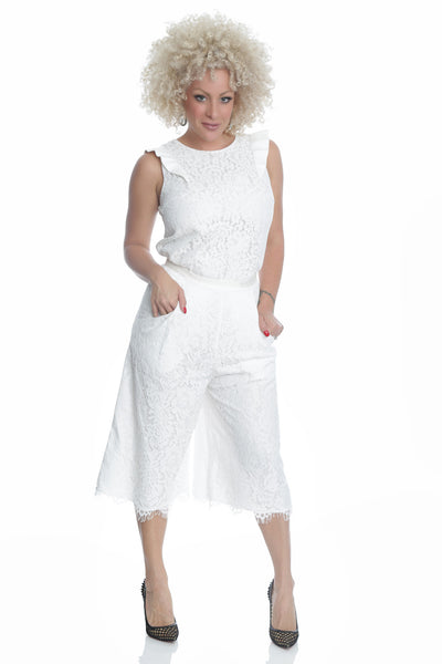 White laced Palazo Pants - LP6703
