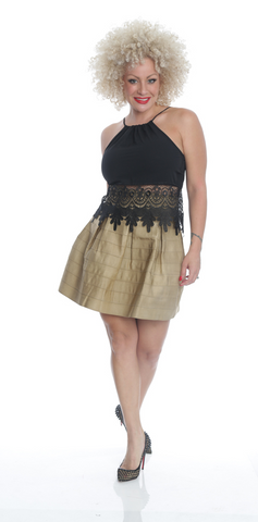 Gold Pleated Skirt - NL6221