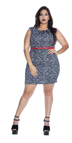Plus Size Knee-Length Cap Sleeve Sheath Dress - D9298B