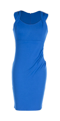 Electric Blue Sleeveless Cut Out Shoulder Midi Dress