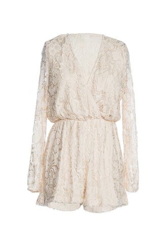 Long Sleeve Wrap Front Nude Lace Romper