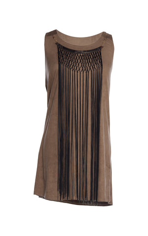 Sleeveless Fringe Trim Mocha Dress