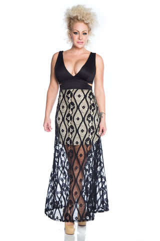 V-Neck Black Lace Maxi Dress