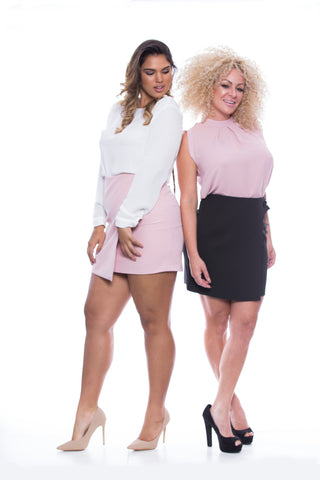 Crossover Mini Skirt with Button - FP7501