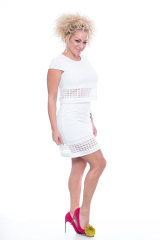 Ivory Skirt with Square Mesh - FDM16132