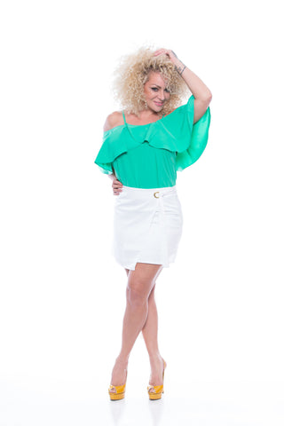 A-line mini skirt with an asymmetrical wrap-waist - F1223