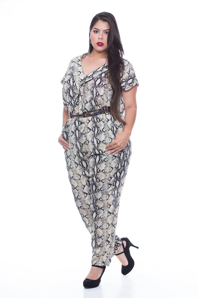 Plus V Neck Jumpsuit with pocket - JMJ98P