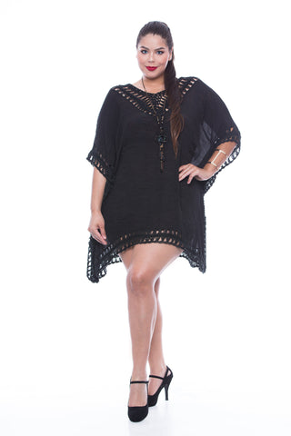 Black Dress Cover Up with neck line crochet - T3262
