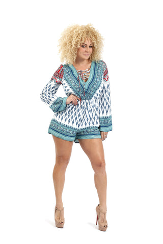 Plus Long Sleeve Deep V Neck Decorated Romper