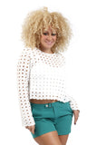 Round neck circle lace long sleeve top - T6654
