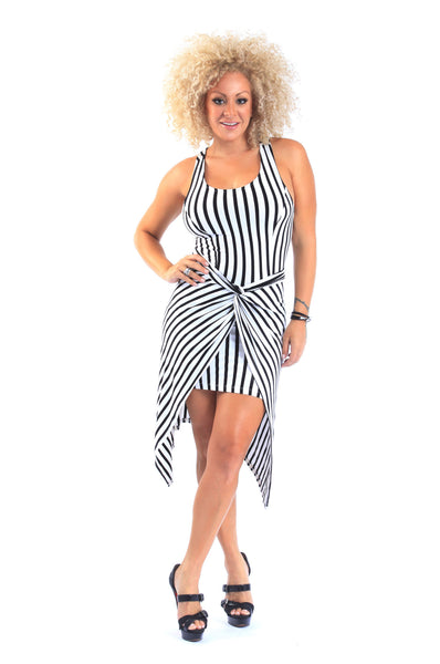 Black & White Striped Cut Out Wrap Dress - D9584