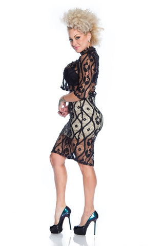 Black Lace Nude Lining Skirt