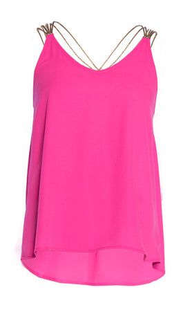 Fucsia V-Neck Racerback Top