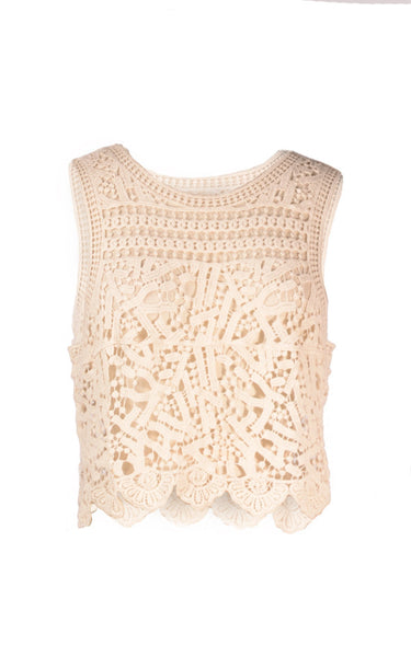 Burbu top Crochet Cover Up with fringe - T4944