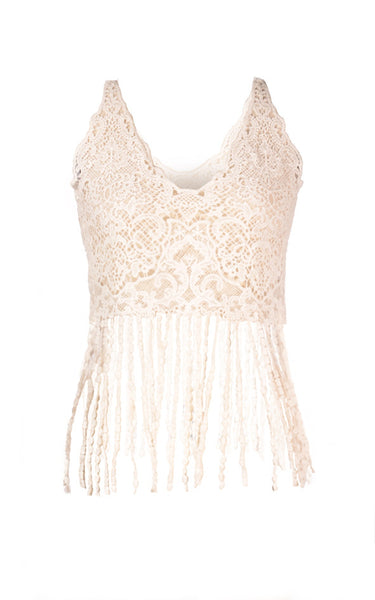 Burbu top Crochet Cover Up with fringe - T7724