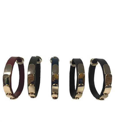 Leather bracelet with gold plate aplique - BL24