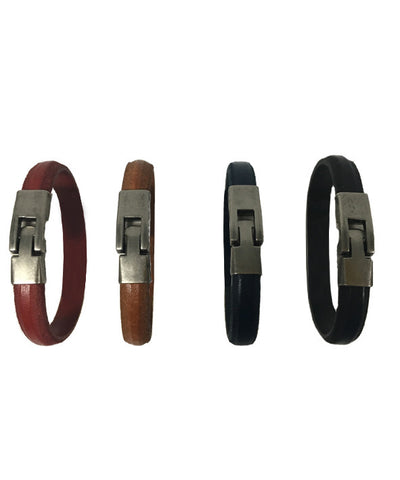 Leather Belt with silver braket - BL25