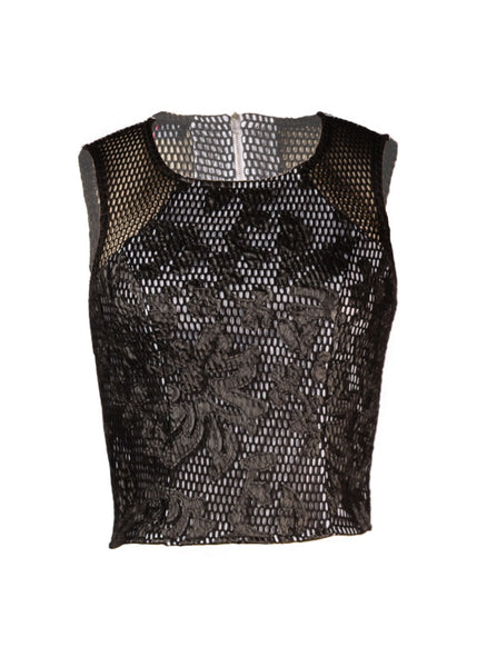 Fashion Top sleeveless with black lace - PVOKT1367