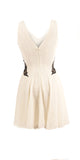 Sleeveless Off white Dress with aplique - PD14432