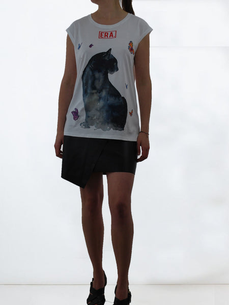 Women's Sleeveless Jersey cat Top